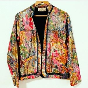 Life Style Multicolor Floral Metallic Jacket